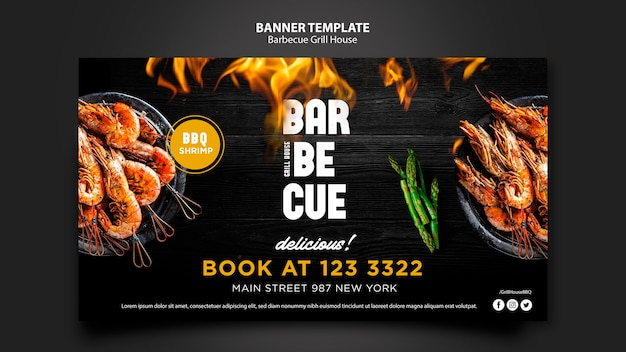 Banner template with barbeque theme