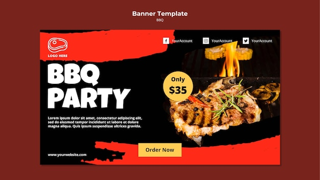Banner template with barbeque