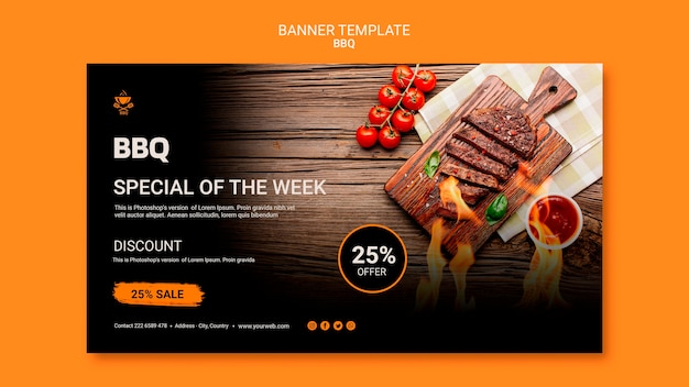 Banner template with bbq concept
