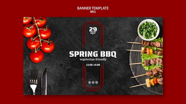 Banner template with bbq design