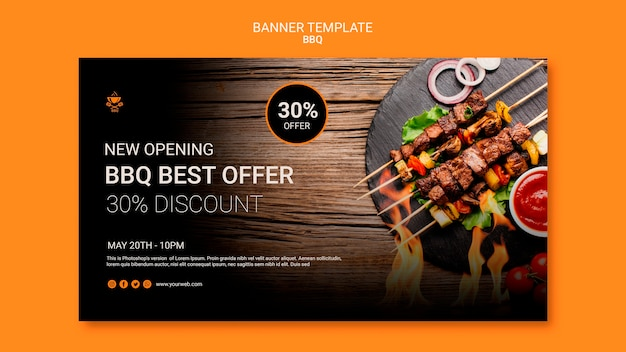 Banner template with bbq design Free Psd