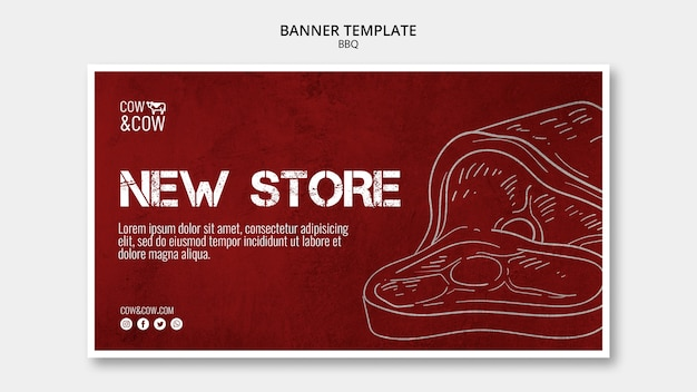 Banner template with bbq