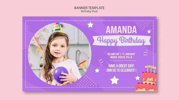 Banner template with birthday invitation theme