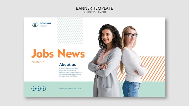 Banner template with business woman concept