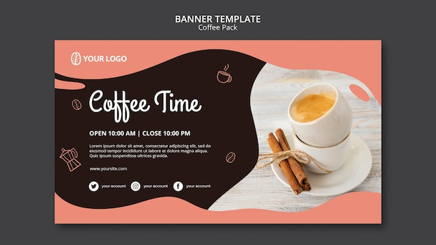 Banner template with coffee concept