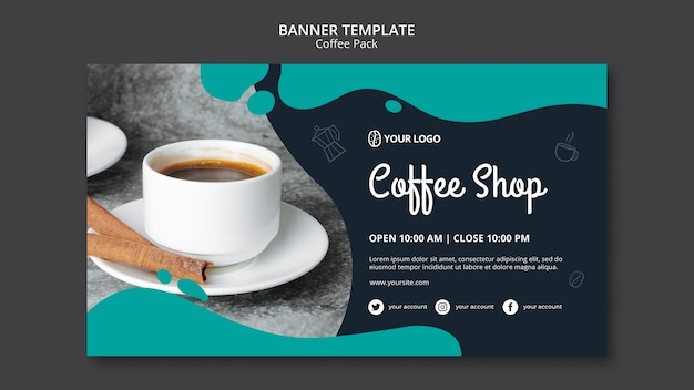 Шаблон баннера с кофейным дизайном