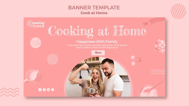 Banner Template With Cooking At Home Design Free Psd File
