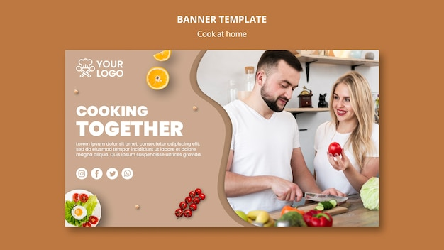 Banner template with cooking