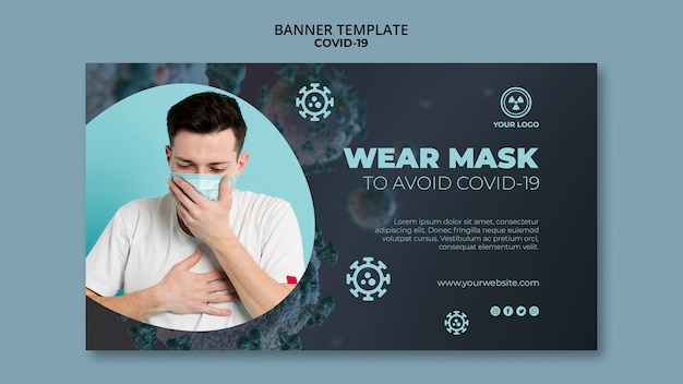 Banner template with covid 19 concept