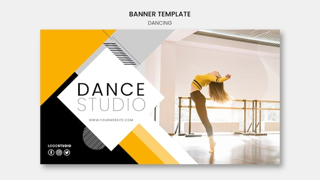Banner template with dance studio theme