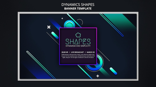 Banner template with dynamic geometric neon shapes