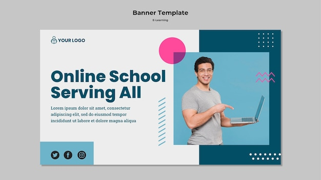 Banner template with e-learning concept