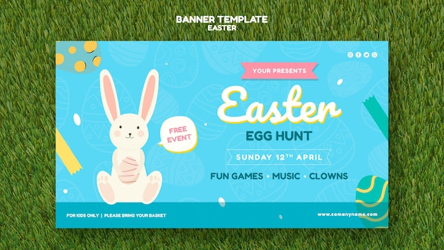 Banner template with easter day concept