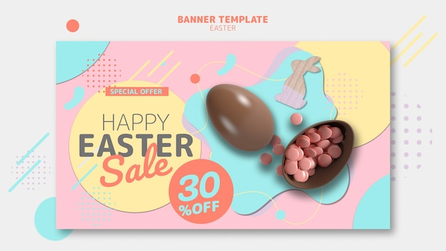 Banner template with easter day sale concept