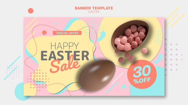 Banner template with easter day sale theme