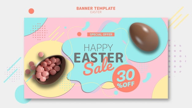 Banner template with easter day sale