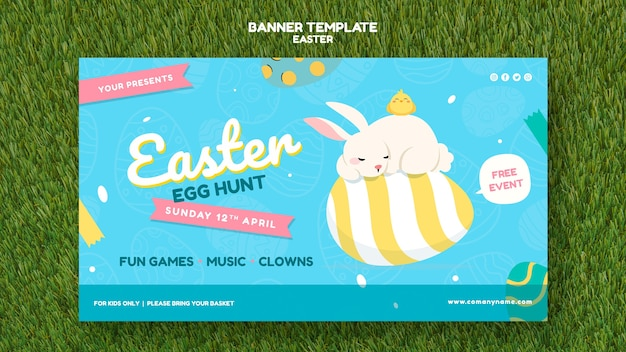 Banner template with easter day