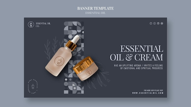 Banner template with essential oil cosmetics