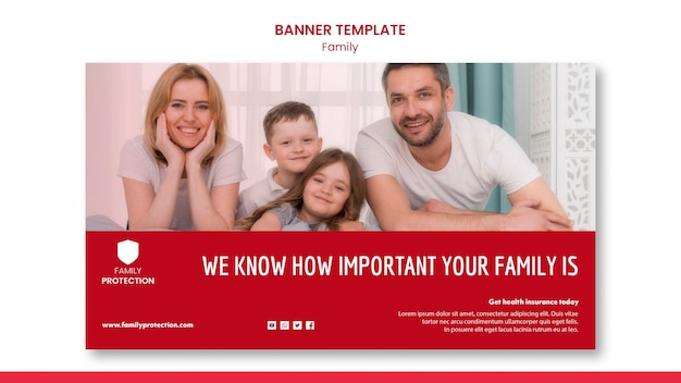 Banner template with family style