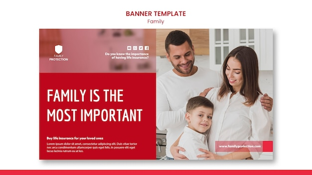 Banner template with family theme