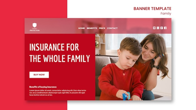 Banner template with family