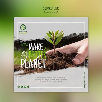 Banner template with hand planting tree