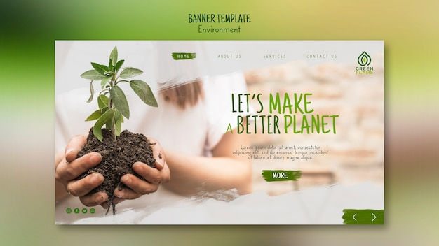 Banner template with hands holding plant in soil