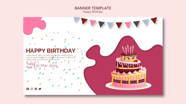 Banner template with happy birthday theme