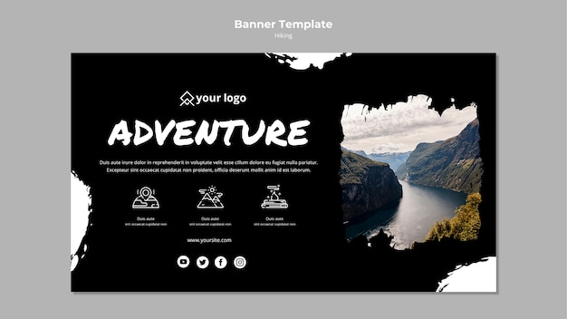 Banner template with hiking concept