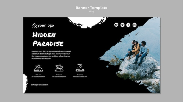 Banner template with hiking design