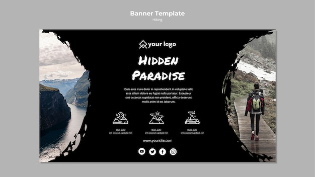 Banner template with hiking theme