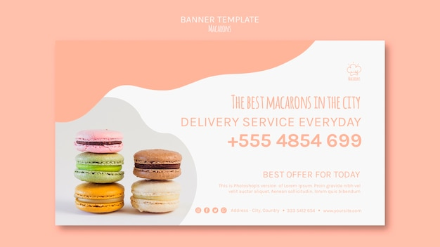 Banner template with macarons concept