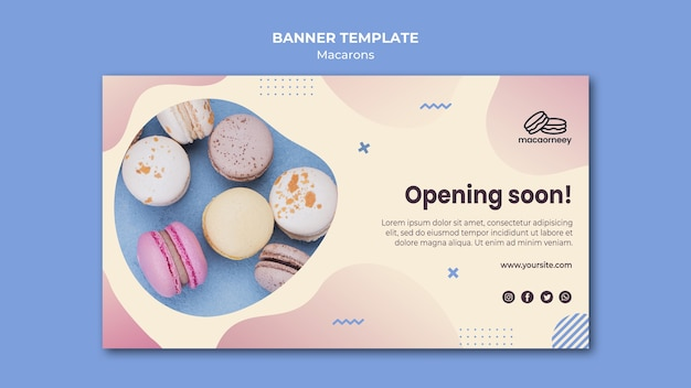 Banner template with macarons