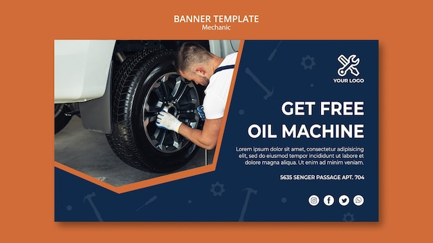 Banner template with mechanic repairing car