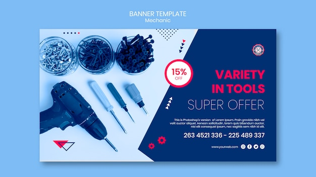 Banner template with mechanic theme