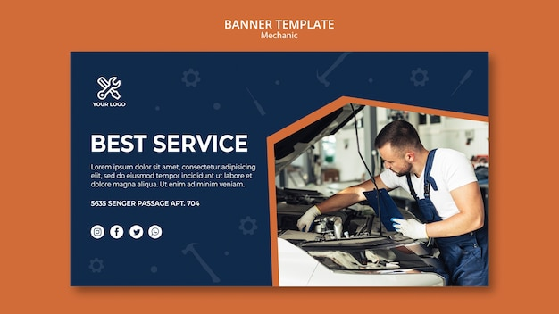 Banner template with mechanic at work