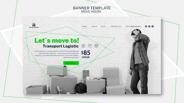 Banner template with moving service