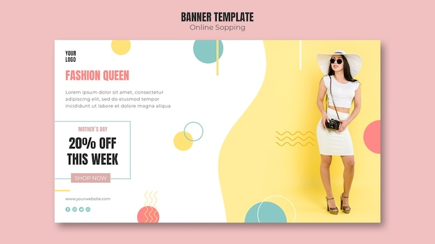 Banner template with online shopping