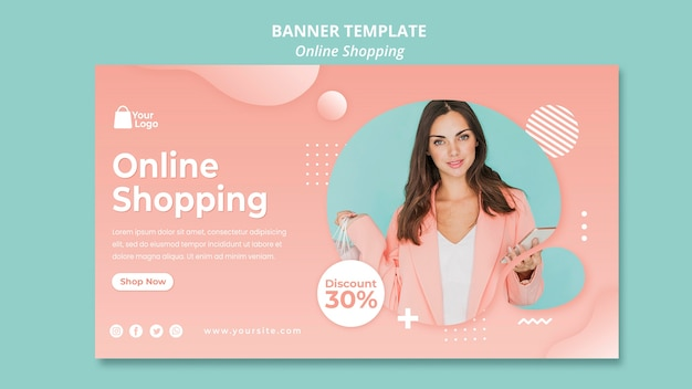 Banner template with online shoppings
