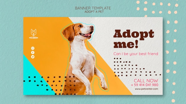 Banner template with pet adoption