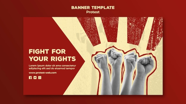 Banner template with protesting for human rights