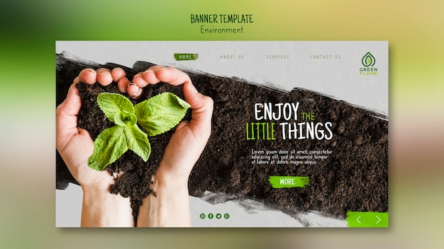 Banner template with soil and plant