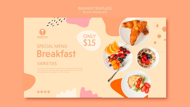 Banner template with special menu for breakfast