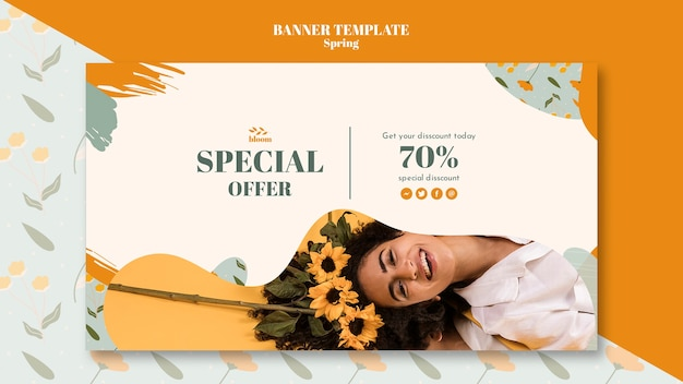 Banner template with spring design