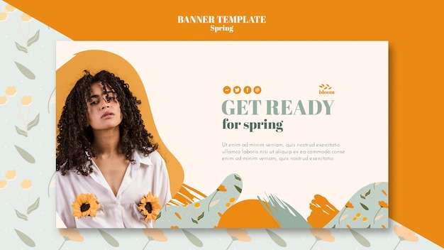 Banner template with spring theme