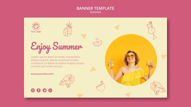 Banner template with summer party design