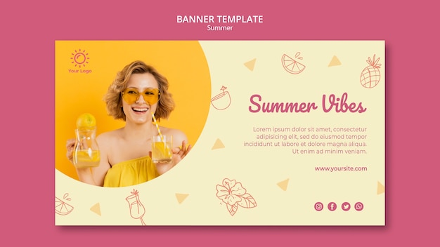 Banner template with summer party theme