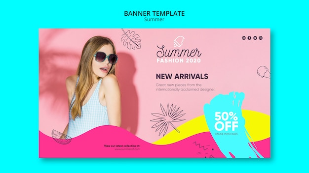 Banner template with summer sale theme