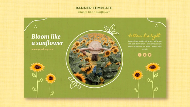 Banner template with sunflowers and woman
