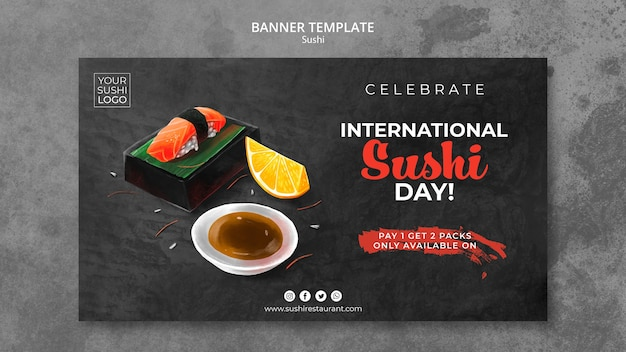 Banner template with sushi day theme